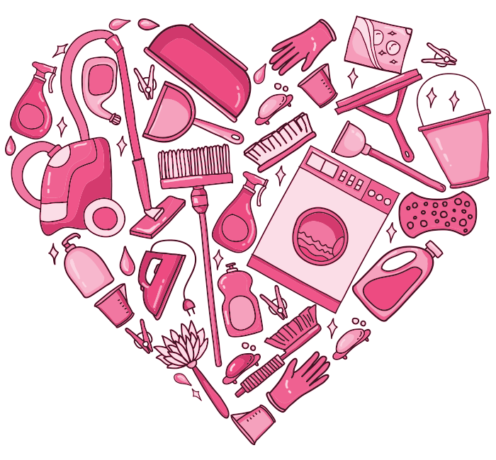 graphic of cleaning icons in shape of heart
