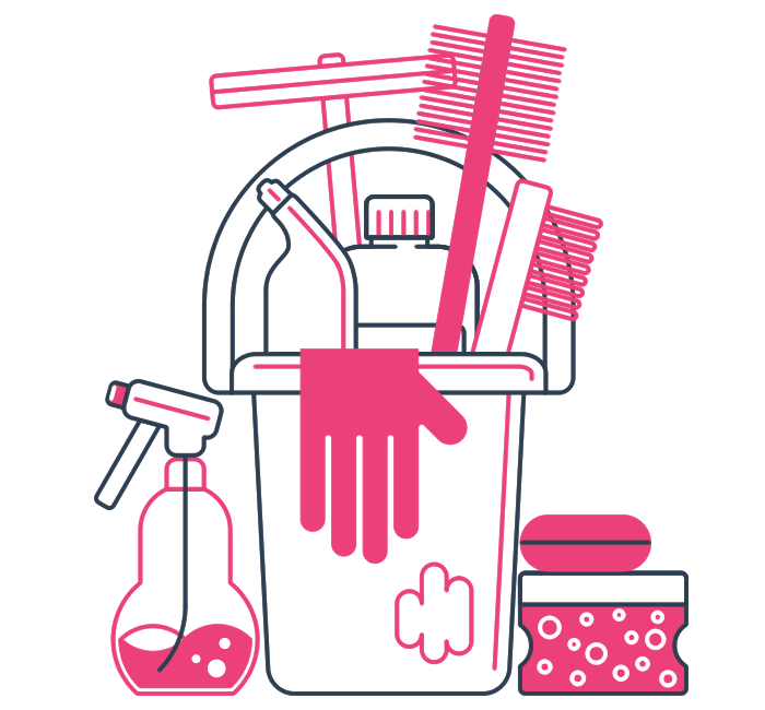 graphic of cleaning supplies